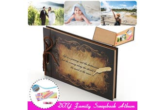 Handmade Family & Kids Scrapbook Adventure Book Photo Album Supply Scrapbook(coffee,Type6)