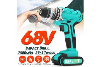 【 Dual speed+Impact function】68V 7500mAh Cordless Electric Drill 25+3 Torque Impact Drills 2-Speed Tools【EU Plug】(EU Two Speed Impact Funtion)