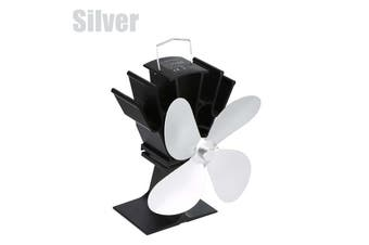 【Free Shipping + Flash Deal 】Fireplace Fan 4 Blades 5 Colors Thermal Power Fan Anodizing Aluminum Household(silver)