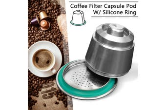 DIY Stainless Steel Refillable Reusable Coffee Capsule For Nespresso Machine Home Office Cafe Coffee Tool(Steel Pod)