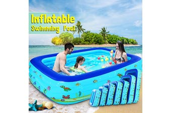 Inflatable Swimming Pool Adults Kids Family Pool Bathing Tub Outdoor Indoor(Blue print 130CM Pool)