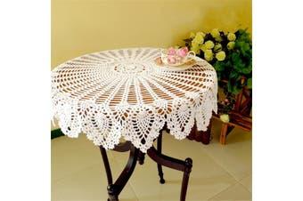 80cm 32inch Hand Crochet Round Table Cloth Runner Topper Victorian White Cotton(white)