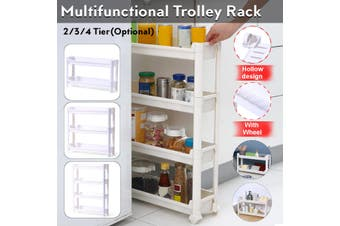 2/3/4 Tier Slim Slide Out Kitchen Trolley Rack Holder Storage Shelf Organiser with Wheels(2Lays Without Wheel)