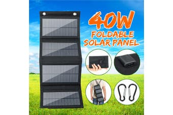 Solar Panel Charger Mobile Power 5V 40W Foldable Outdoor Waterproof Solar Panel for Camping, Hiking and Outdoor Activities