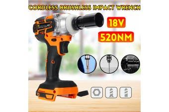 "18V 520Nm 1/2"" High Torque Cordless Brushless Impact Wrench Drill Tool Electric(orange,520N.M Orange)"
