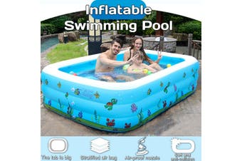 Inflatable Swimming Pool Adults Kids Family Pool Bathing Tub Outdoor Indoor(Blue print 110CM Pool)
