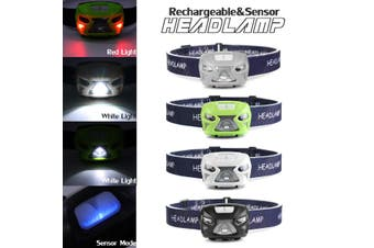 50000Lumen 5 Mode 5W LED Body Motion Sensor Headlamp Mini Headlight Rechargeable Outdoor Camping Flashlight Head Torch Lamp With USB(white,Armored Vehicles)