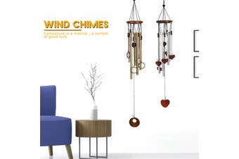 【FreeShipping】Wind Chimes Outdoor Garden Lucky Bells Hanging Charm Decor Windchime Ornament Tube(golden,Type-2)