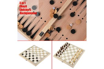 3 in 1 Folding Wooden Wood Chess Set Board Game Gift Checkers Backgammon 5 Sizes #34*34cm(34X34cm)
