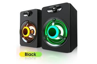 SADA V-118 Mini Desktop 2.0 Computer Speaker Colorful LED Light Bass Subwoofer USB Powered Good for Music Movie Video Games(black,2.0 speaker)