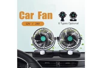 New Car Fan 12V GM big Truck Double Head Shaking Head 6 Inch Car Fan(Double-headed table fan 12V)
