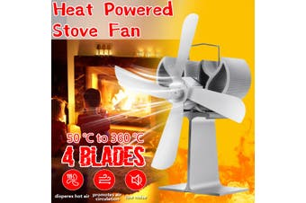 4-Blade Heat Powered Stove Fan for Wood Burners and Multi Fuel Ovens(silver,4 Blades/Silver)