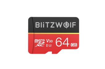 BlitzWolf BW-TF1 Class 10 UHS-1 32GB UHS-3 V30 64GB 128GB Micro SD TF Memory Card with Adapter(64 g)
