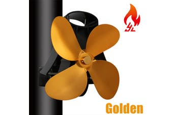 【Free Shipping + Flash Deal 】4 Blades Silent Wall Mounted Heat Powered Stove Fan Wood Burner Fireplace EcoFan(gold,4 Blades with Stove Thermometer)