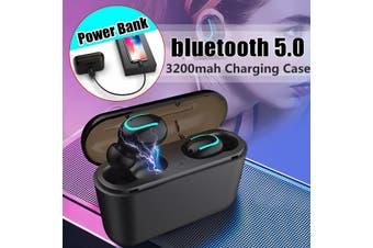 Twin True TWS Wireless Mini bluetooth 5.0 In-Ear Earphones Headset Sport Earbuds(black,Type B)