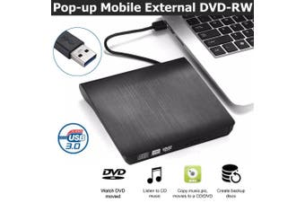 USB 3.0 External DVD RW CD Writer Slim Drive Burner Reader Player For PC Laptop (black)