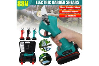 【2 batteries】30mm Electric Pruning Shears Trimmer Cutter Pruner Garden Scisso 2
