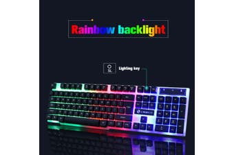 2.4GHZ Optical Ultra-thin USB Wireless Mouse + Keyboard Office Game Backlight(black,Wired Keyboard And Mouse Set:)