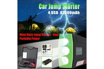 82800mAh High Power Car Jump Starter 12V Portable Starting Device Power Bank Car Charger For Car Battery Booster Buster 4 USB(green,Car Jump Starter)