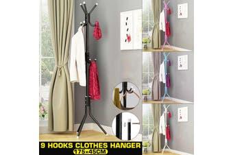 Metal Coat Stand Rack Clothes Hanger Hat Tree Vintage Jacket Bag Umbrella Hook(black)
