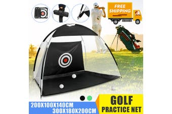 2m Outdoor 210D Oxford cloth Golf Practice Net Folding Nylon Golf Chipping Net Garden Grassland Golf Training Practice Net with Carry Bag(black,2 m)