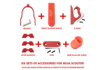 6PSC Hook Damping Gasket Silicone Sleeve For Xiaomi M365/ M187/ PRO Scooter Set(red,Type B Red)
