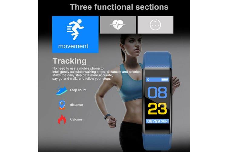 Smart Watch Activity Tracker Waterproof Heart Rate Monitor bluetooth Fitness(blue)