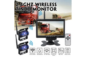 [With Dual Cameras] 7Inch Wireless Reversing Camera Car Backup Camera For Bus Truck Caravan Car Monitor Screen DC11V-32V (With 2 HD Camera)