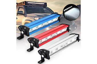 【7 inch】(Spot) 18W 6led Adjustable Car LED Project Work Light Bar Fog Light Driving Lamp Waterproof 1800lm DC12V For Jeep MPV Boat Offroad Pickup ATV Roof Grille 6000K-RED/SILVER/BLUE(blue,7 inch)