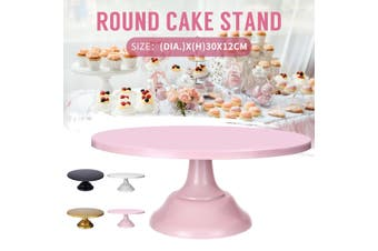 "12"" Iron Round Cake Stand Pedestal Dessert Holder Wedding Birthday Party (white)"