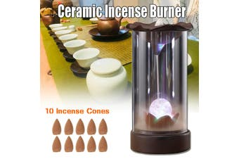 Buddha Decor Ceramic Smoke Backflow Censer Cone Incense Burner Holder Sandalwood(with 10pcs cones)