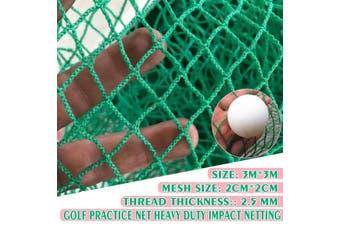 3m*3m 2cm*2cm Foldable Golf Driving Practice Hitting Net Indoor Outdoor Garden Trainer(green,PE)
