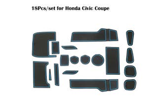 Auto Car Anti Slip Non-slip Gate Slot Cup Pad Holder Door Liner For Honda Civic 2016-2019(blue,16pcs)
