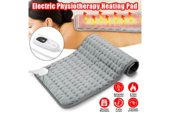 75 x 40cm Electric Heating Pad 6-Level Fast Moist/Dry Pain Relief Heat Mat Large Size -- AU / US / UK / EU - grey