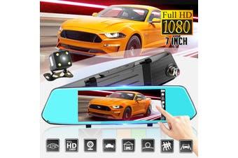 "1080P HD Car Dash Camera Dual Cam Vehicle Front Rear DVR Lens Video Recorder(Type A(7"" Half Screen))"