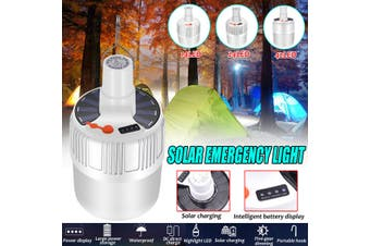 USB Solar Panel Powered LED Bulb Hook Family Camping Tent Light Emergency Lamp(24LED USB charging)