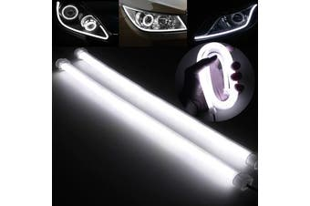 2x 30cm Flexible Car Soft Tube Guide LED Strip Lamp DRL Daytime Running Light(white,30cm)