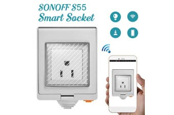 SONOFF S55 Waterproof WIFI Wireless Smart Plug Socket Outlet Home Timer Control US/DE/FR/US Type Switch For Alexa Google Outlet White(S55TPB(US))