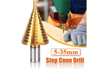5-35mm Titanium Step Cone Drill Bit HSS Steel High Speed Wood Steel Hole Cutter