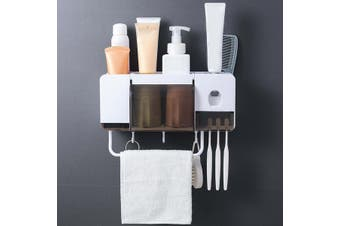 Wall-mounted Stick Toothbrush Holders Bathroom Paste Toothbrush Rack Multifunction Storage Towel Rack 2-4 Grid