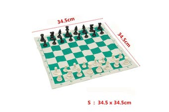 Newest Outdoor Traveling Portable Traditional Chessboard Tournament Club Chess Set with Green Roll-up Board + Plastic Bag(S)