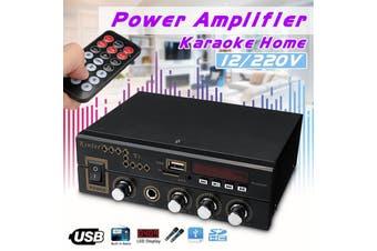 12V/220V Digital Stereo Audio Bluetooth Amplifier AMP SD FM USB Mic Home(Stereo Amplifier)