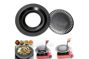 Round Iron Korean BBQ Grill Plate Barbecue Non-stick Pan Set with Holder Set(black,32 cm)