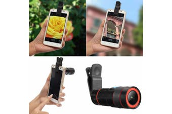 12x Optical Zoom Lens Telescope Telephoto Clip on For Mobile Cell Phone Camera(black,Gifts)