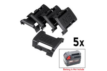 5Pcs Mounts Holder Storage Stand Shelf 5x Rack For Milwaukee 18V Slot(black,5PCS)