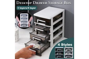 3/4 Tier Clear Desktop Storage Drawer Plastic Case Organizer Box Office Home(white,4 Layers)