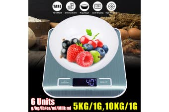 5kg / 1g 10kg / 1g Electronic Kitchen Scale Digital Weighing Food Scale Accurate(blue,5 kg)
