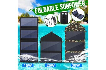 15W 20W 30W Foldable Portable Solar Panel Dual USB Dual-Port Rechargeable Charger Charging Board Camping Phone Tablet Hand Sunpower Outdoor Hiking (camouflage,20W)