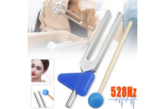 528Hz Tuning Fork Chakra Hammer Ball Diagnostic Triangular Silicone Module Tool (silver,528Hz)
