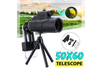 50x60 HD IR Night Vision Monocular Infrared Binoculars Telescope Phone Holder Tripod for Hunting Camping Hiking(Monocular with phone holder tripod)